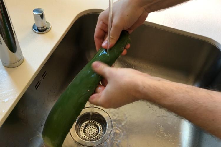 Aloe Vera Blatt abwaschen